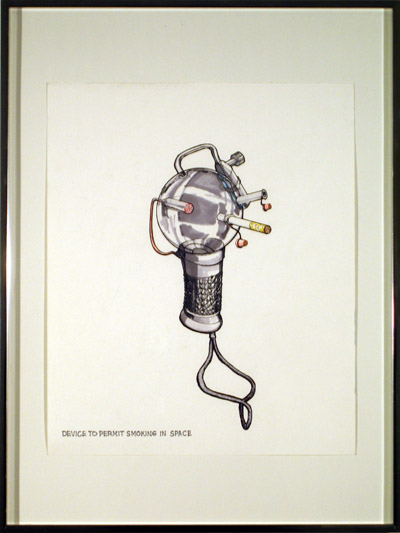 Device To Permit Smoking In Space, 2007, marker and pencil on paper, 24 3/16 x 18 5/16 inches (61.5 x 46.2 cm)