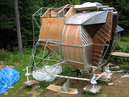 LEM, 2003-2007, 13'X11'X14', aluminum, steel, epoxy, wood, rubber, money Lunar Module, Ascent Stage, under construction in New Hampshire, summer 2004