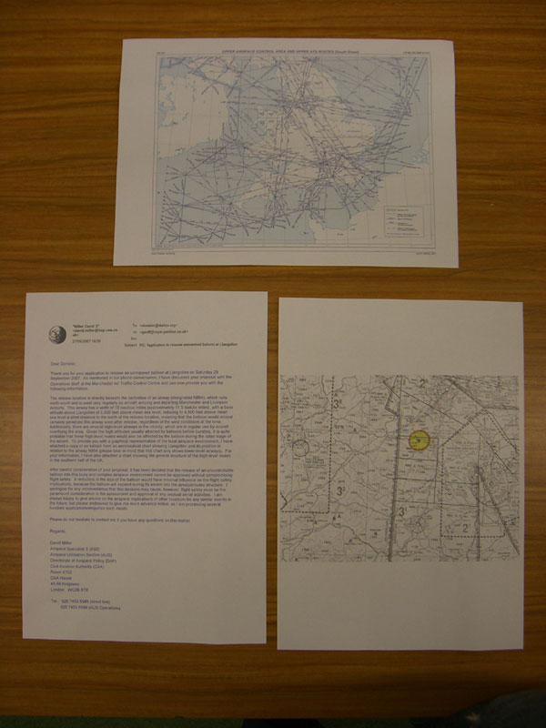 Letter and maps detailing the reasons for the denial of BPL 001's use of air space to an altitude of 150,000 feet by the Civil Aviation Authority (not the least of which was application being submitted two days before launch).